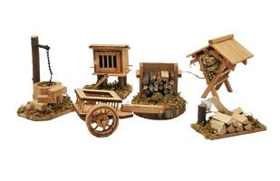 .. Krippenzubehör 6-teilig Brunnen Holz Wagen Stall